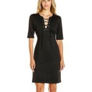 Catherine Malandrino Black Lace Up Midi Dress